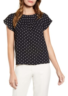 Anne Klein Dot Print Pleat Detail Blouse