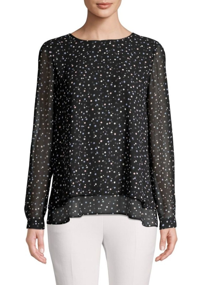 Anne Klein Dot-Print Sheer-Sleeve Top