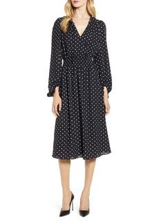 Anne Klein Dot Print Smocked Waist Dress