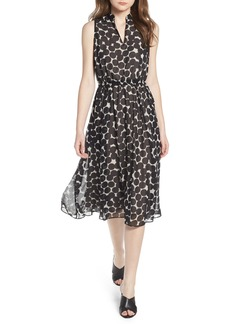 Anne Klein Dot Print Split Neck Dress