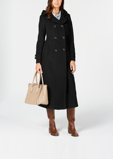 Anne Klein Double-Breasted Hooded Coat