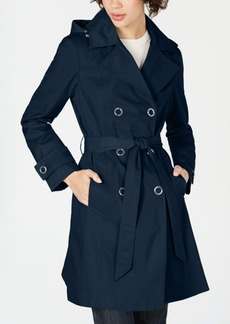 Anne Klein Double-Breasted Hooded Trench Coat