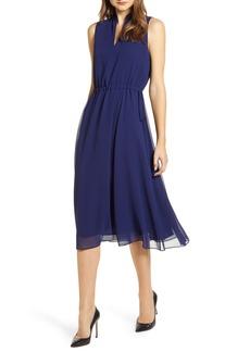 Anne Klein Drawstring Chiffon Midi Dress