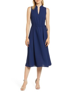 Anne Klein Drawstring Waist Midi Dress