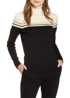 Anne Klein Elbow Patch Turtleneck Sweater