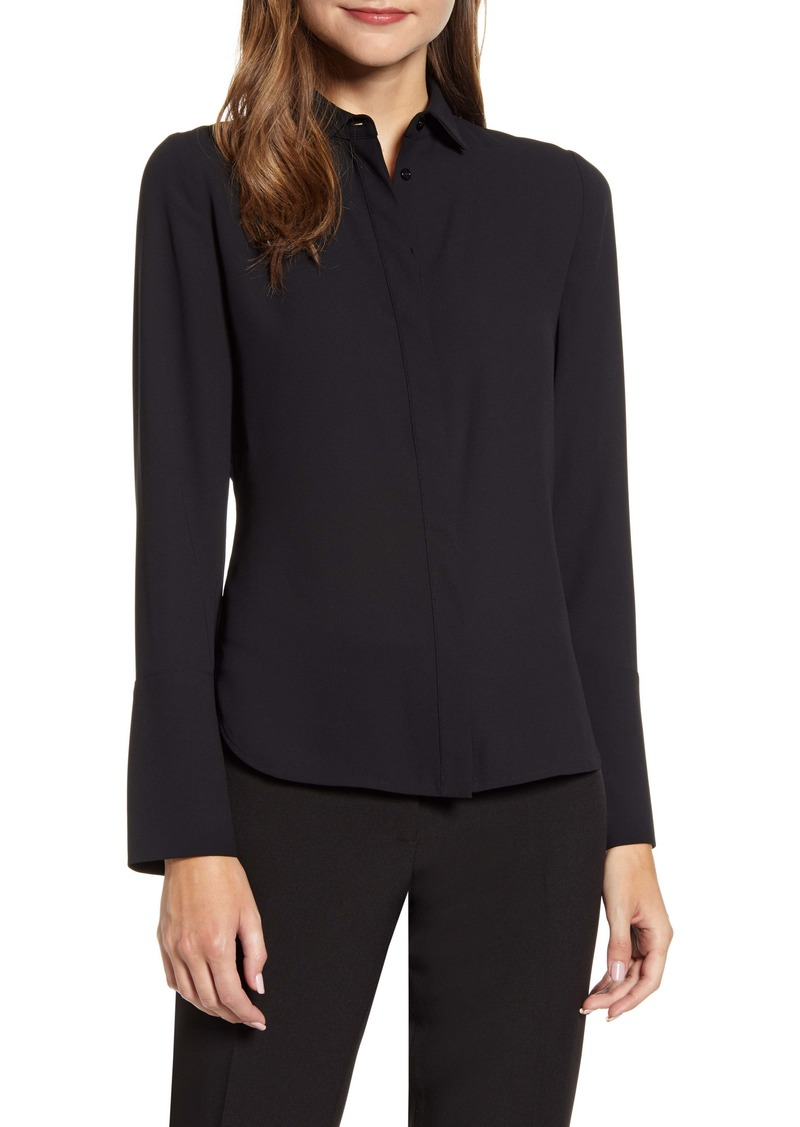 Anne Klein Extended Cuff Button-Up Blouse