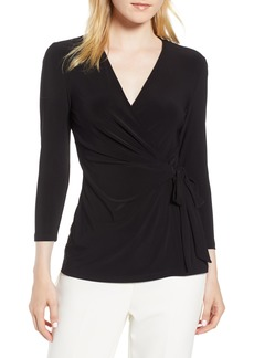 Anne Klein Faux Wrap Jersey Top