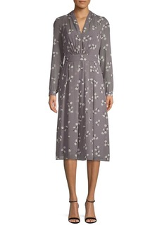 Anne Klein Floral Long-Sleeve A-Line Dress