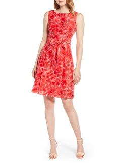 Anne Klein Floral Shadow Stripe Fit & Flare Dress