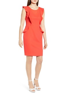 Anne Klein Flutter Sleeve Soft Crepe Sheath Dress