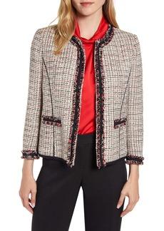 Anne Klein Fringe Detail Collarless Tweed Jacket