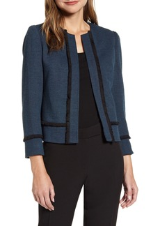 Anne Klein Fringe Detail Herringbone Open Front Jacket