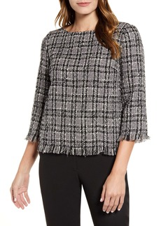 Anne Klein Fringe Tweed Blouse
