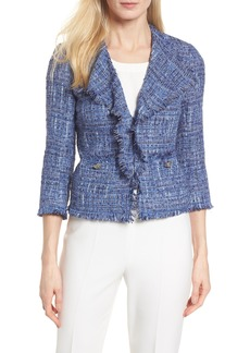 Anne Klein Fringe Tweed Jacket
