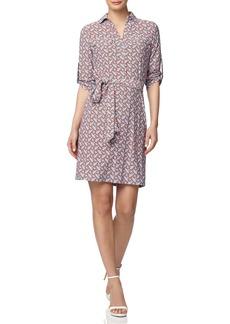 Anne Klein Geo Print Belted Shirtdress