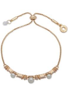 Anne Klein Gold-Tone Crystal & Imitation Pearl Slider Bracelet