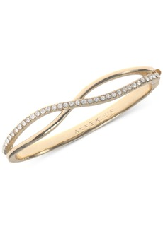 Anne Klein Gold-Tone Crystal Crisscross Bangle Bracelet, Created for Macy's