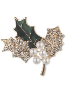 Anne Klein Gold-Tone Imitation Pearl & Crystal Holly Branch Pin