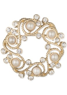 Anne Klein Gold-Tone Imitation Pearl and Crystal Wreath Pin, Created for Macy's