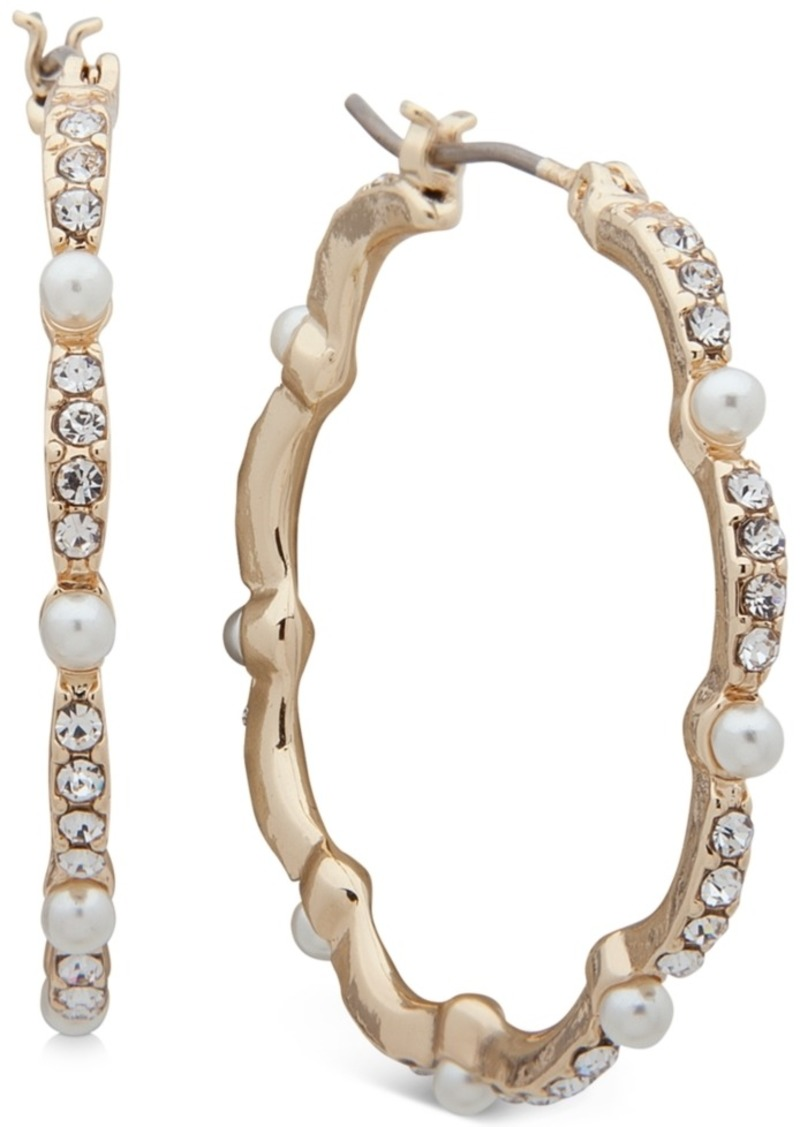 Anne Klein Gold-Tone Medium Pave & Imitation Pearl Scalloped Hoop Earrings, 1.25""