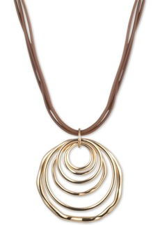 "Anne Klein Gold-Tone Multi-Circle 18"" Leather Pendant Necklace"