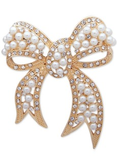 Anne Klein Gold-Tone Pave & Imitation Pearl Bow Pin, Created for Macy's