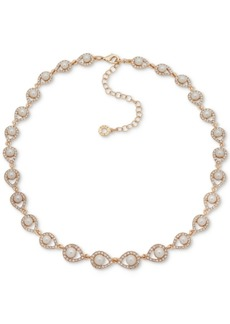 "Anne Klein Gold-Tone Pave & Imitation Pearl Collar Necklace, 16"" + 3"" extender"