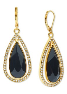 Anne Klein Gold-Tone Pave & Stone Drop Earrings