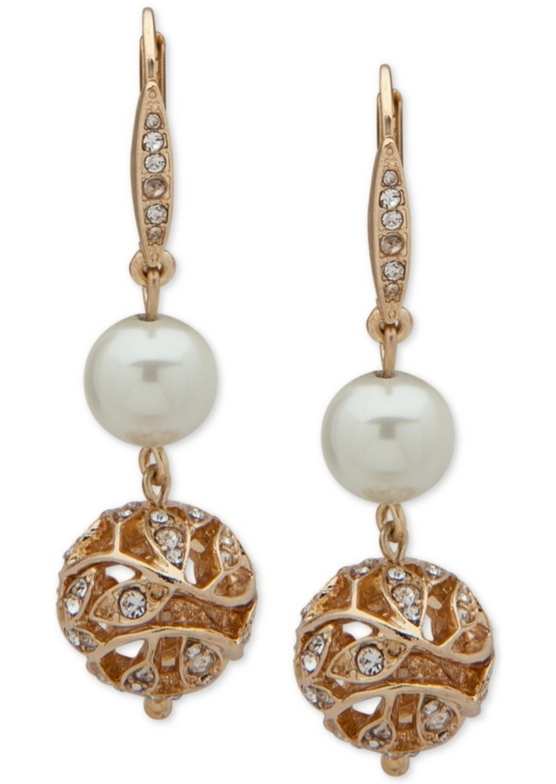 Anne Klein Gold-Tone Pave Filigree & Imitation Pearl Double Drop Earrings