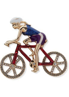 Anne Klein Gold-Tone Pave Red, White & Blue Bicyclist Pin, Created for Macy's