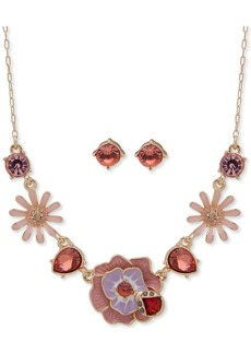 "Anne Klein Gold-Tone Pink Crystal Earrings & Frontal Necklace Set, 16"" + 3"" extender, Created for Macy's"