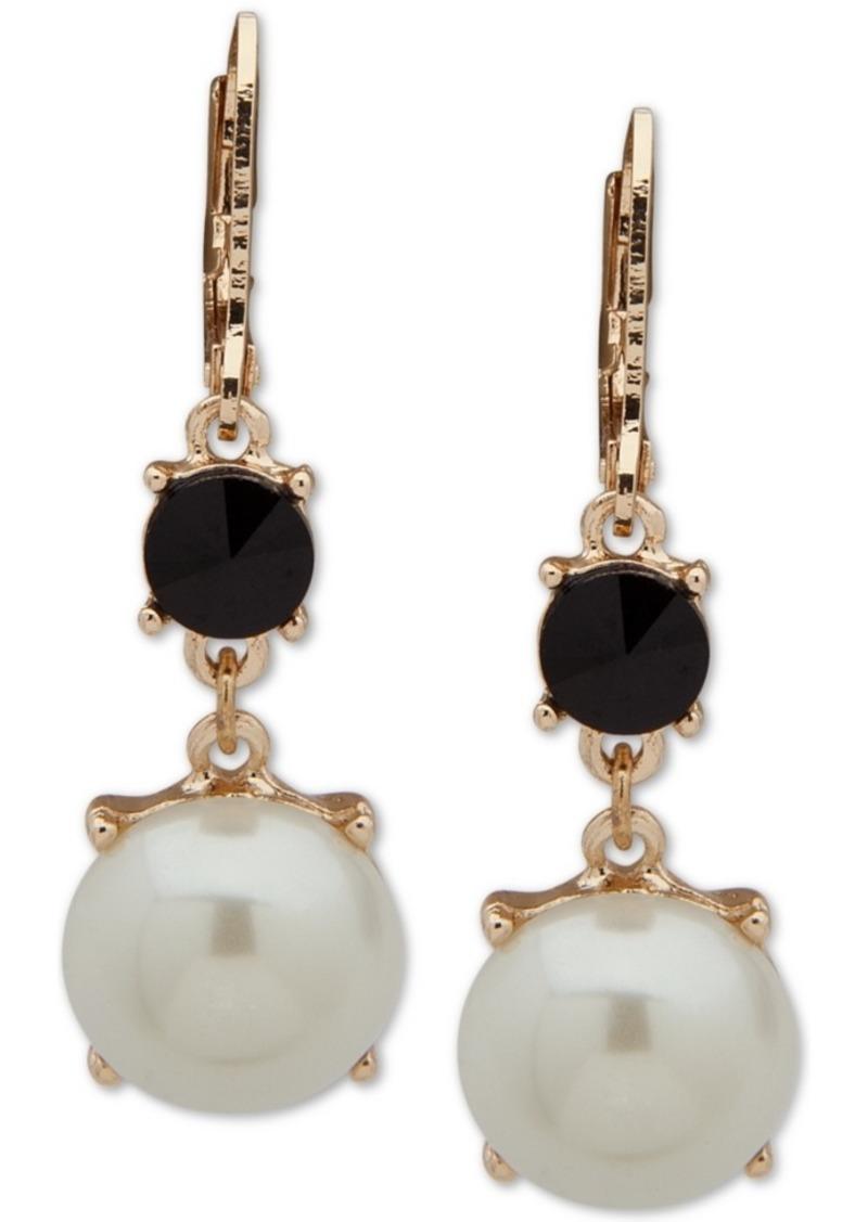 Anne Klein Gold-Tone Stone & Imitation Pearl Drop Earrings