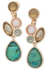 Anne Klein Gold-Tone Stone Cluster Clip-On Drop Earrings