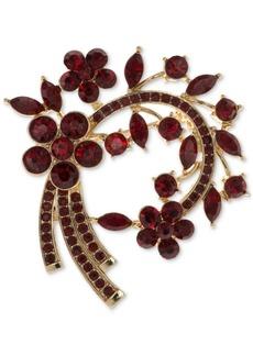 Anne Klein Gold-Tone Stone Flower & Vine Pin