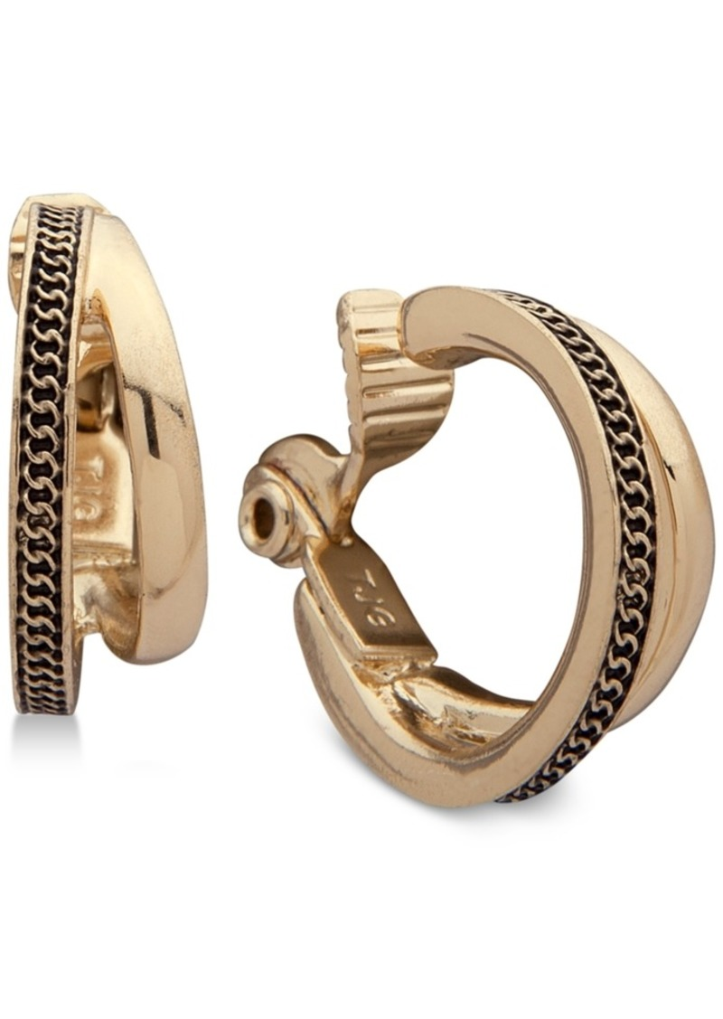 Anne Klein Gold-Tone Textured Double-Row Clip-On Mini Small Hoop Earrings