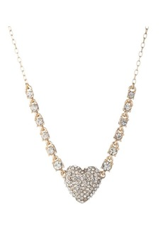Anne Klein Goldtone and Crystal Heart Pendant Necklace