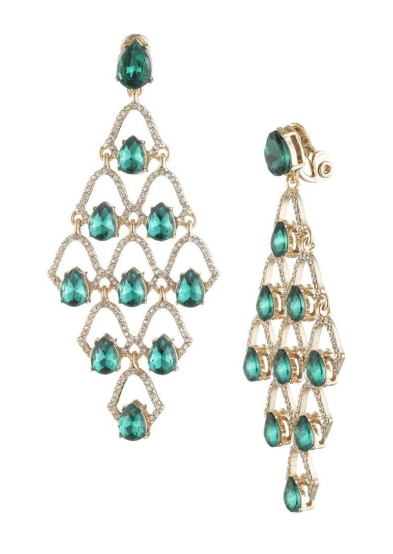 Anne Klein Goldtone and Glass Stone Chandelier Earrings