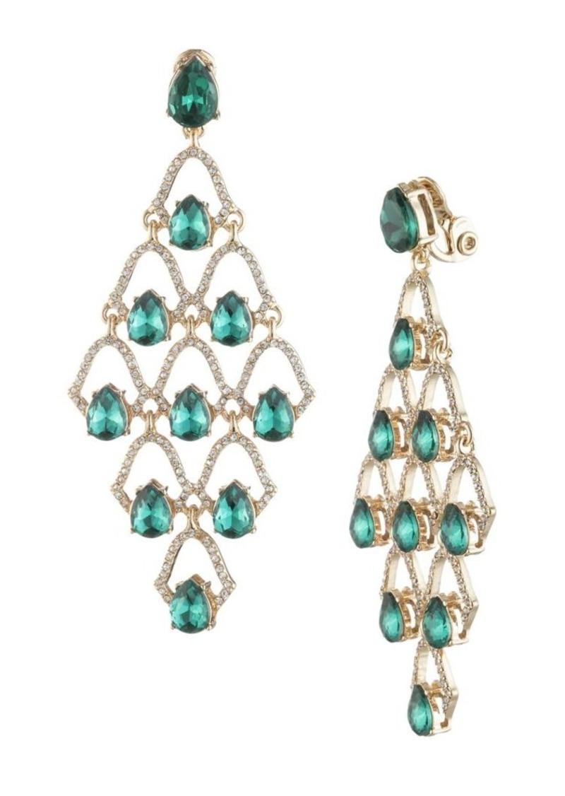 Anne Klein Goldtone and Glass Stone Chandelier Earrings