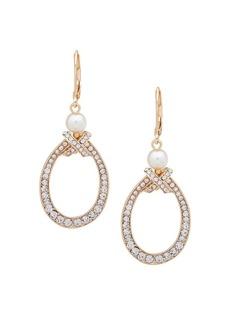 Anne Klein Goldtone, Faux Pearl & Crystal Drop Earrings