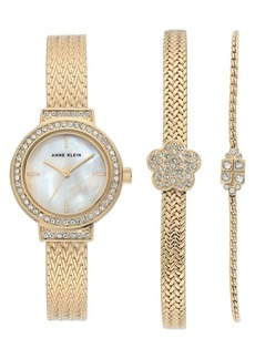 Anne Klein Goldtone Stainless Steel & Swarovski Crystal Bracelet Watch