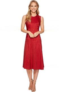 Herringbone Tex Jacquard Seamed Fit & Flare Dress