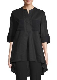 Anne Klein High/Low Mixed Media Linen & Cotton Tunic
