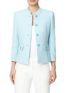 Anne Klein Houndstooth Check Cotton Blend Jacket