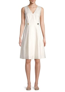 Anne Klein Jacquard V-Neck A-Line Dress