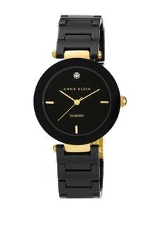 Anne Klein Ladies Round Black Ceramic Quartz Watch