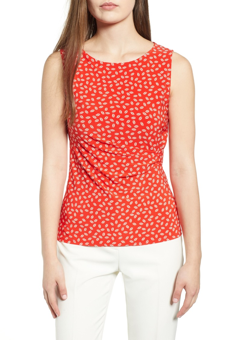 Anne Klein Leaf Pattern Ruched Side Sleeveless Top
