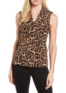 Anne Klein Leopard Print Pleat V-Neck Top