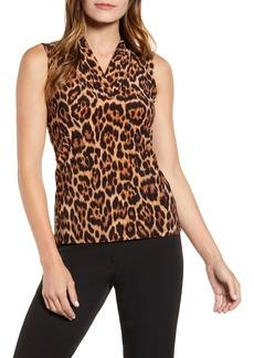 Anne Klein Leopard Print Pleat V-Neck Top