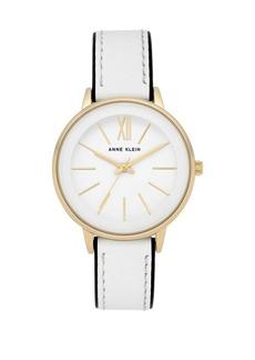 Anne Klein Logo Leather Strap Watch