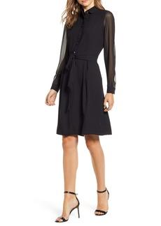 Anne Klein Long Sleeve Chiffon & Crepe Shirtdress